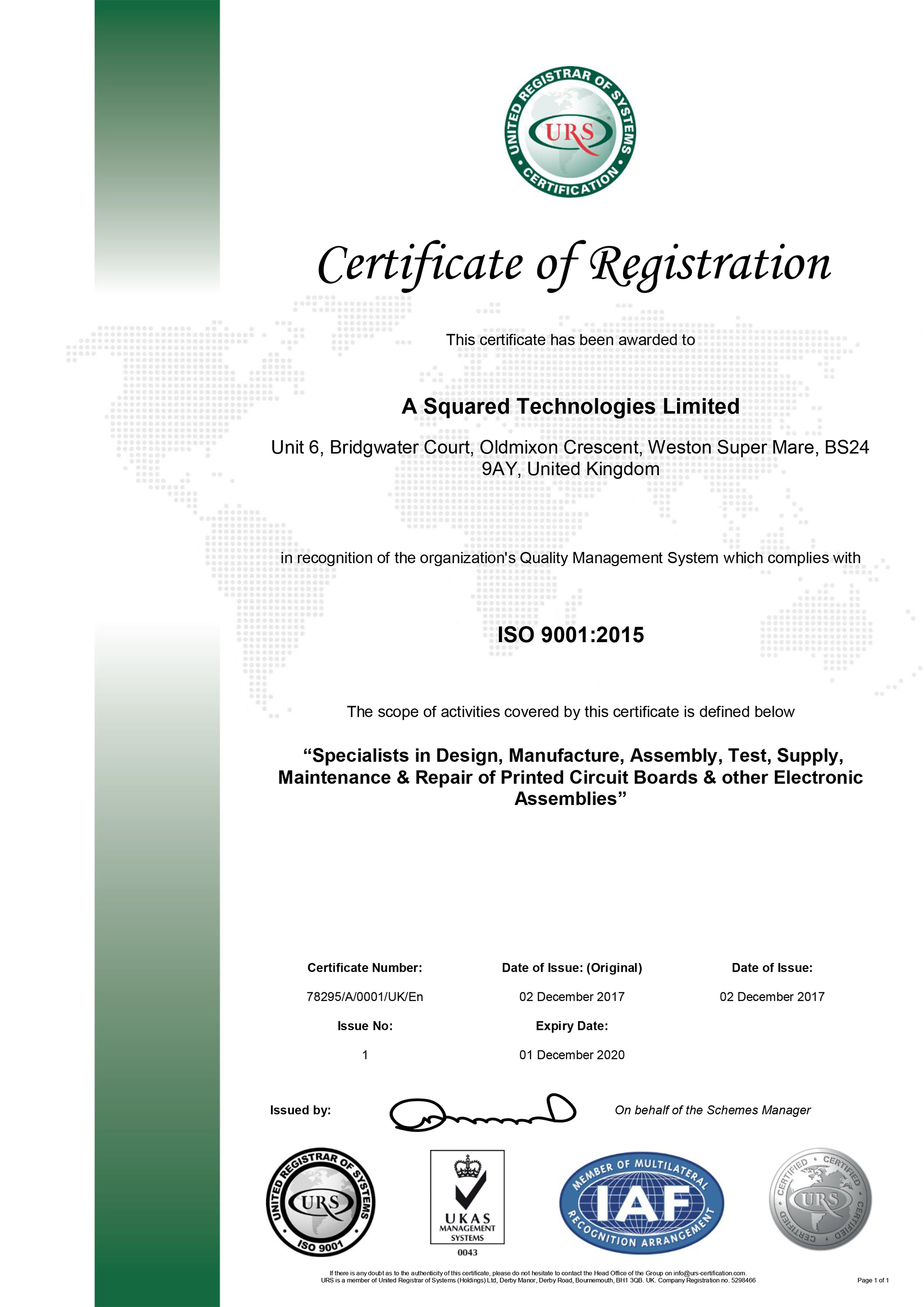 A Squared is an ISO 9001:2015 Accreditied Company!