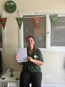Kate with Certificate
